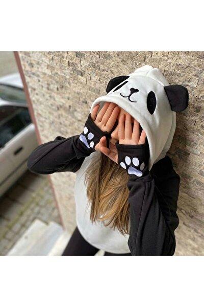 Kadın Siyah Beyaz Panda Sweatshirt