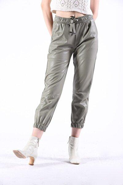 Merve's Butik 24327 Paçası Lastikli Deri Pantolon Çağla Yeşili