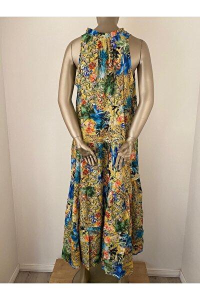 Tropikal Fırfırlı Elbise