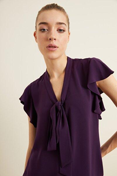 Kadın Mor Yakası Fiyonklu Volanlı Bluz