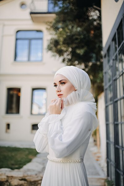 Ekru Nikah Elbisesi Şalı