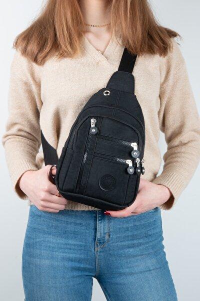 Byhakan Tn-011 Su Geçirmez Kumaş Kadın Body Bag Sırt Ve Göğüs Askılı Çanta Siyah