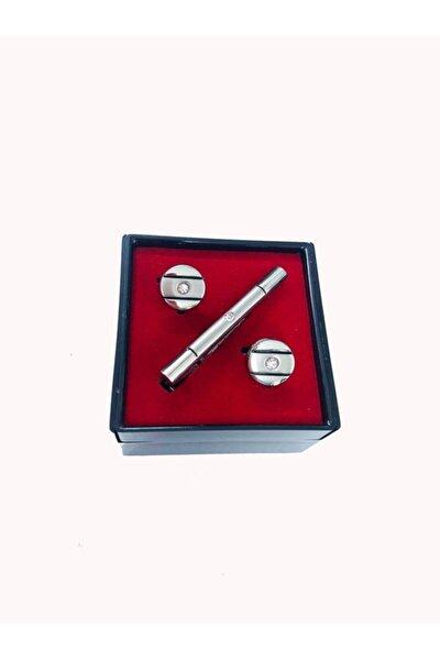 Gümüş Renk Kol Düğmesi Ve Kravat Iğnesi Set Kd-82