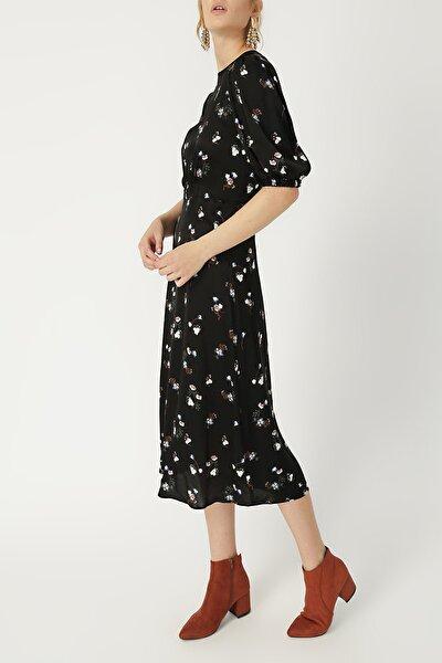 Kadın Beli Büzgülü Midi Boy Elbise %60 Vıscon %40 Polyester