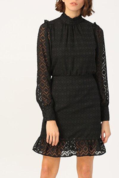 Kadın Hakim Yaka Volan Detaylı Siyah Elbise %100 Polyester