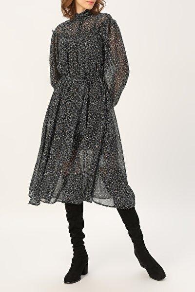 Kadın Hakim Yaka Fırfır Detaylı Desenli Elbise %100 Polyester