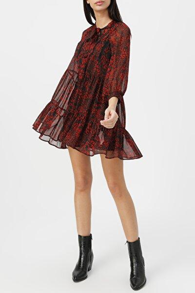 Kadın Boyundan Bağlamalı Dantel Detaylı Desenli Elbise %100 Polyester