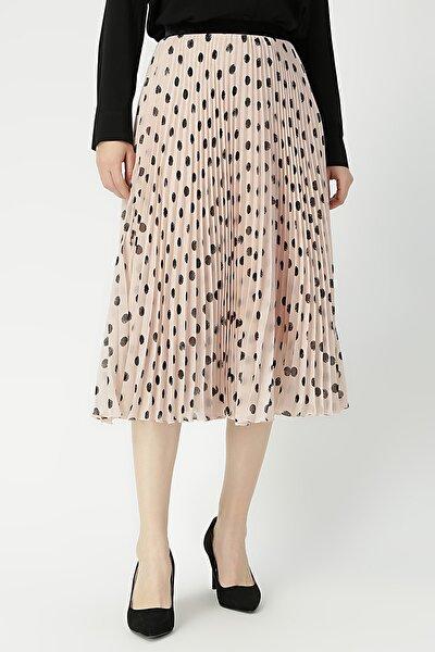 Kadın Puantiyeli Beli Lastikli Etek %100 Polyester