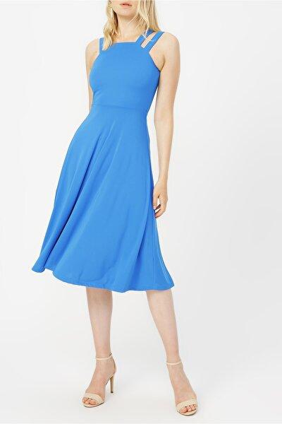 Çift Askılı Midi Elbise %100 Polyester