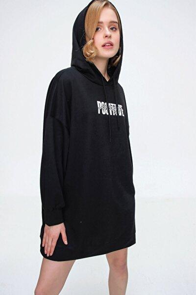 Kadın Siyah Baskılı Oversize Sweat Elbise 55315