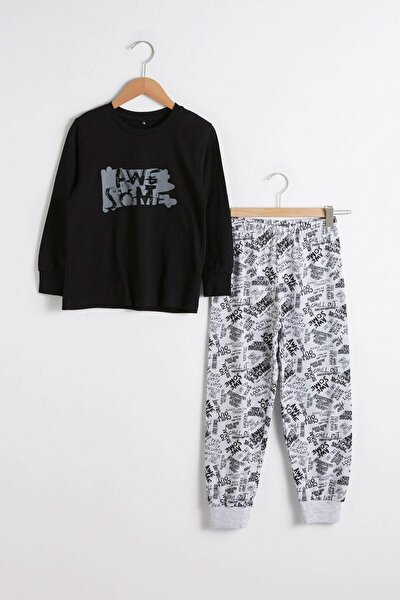Erkek Çocuk Gri Baskılı Lrw Pijama Takımı