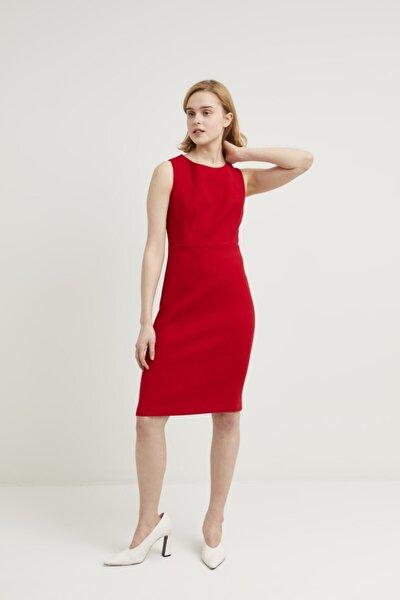 Kadın Kirmizi Sıfır Kollu Elbise