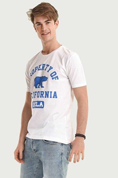 Stanton Beyaz Bisiklet Yaka Erkek T-shirt