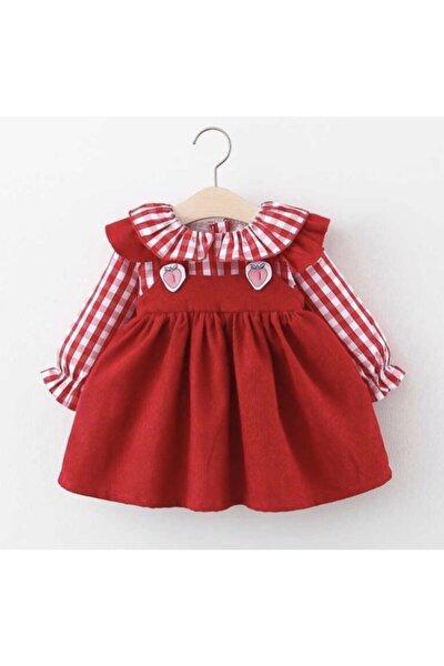 Kız Bebek Kırmızı Pötikare Gömlekli Elbise
