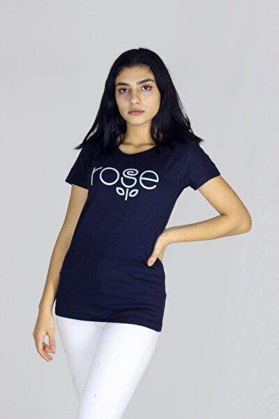 Kadın Lacivert Rose Baskılı Bisiklet Yakalı Basic Kısa Kollu T-shirt