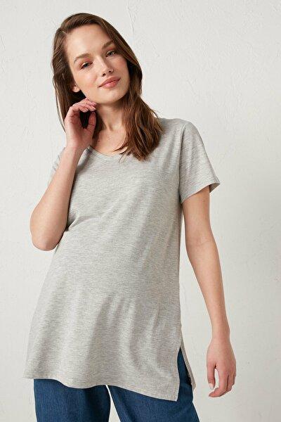 Kadın Gri Melanj  T-Shirt
