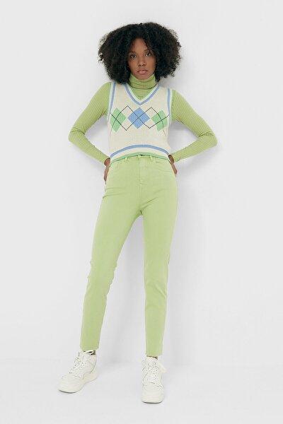 Kadın Yeşil Yüksek Bel Jean