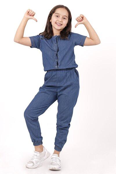 Kız Çocuk Koyu Mavi Jean 3-13 Yaş Tulum 4104-1
