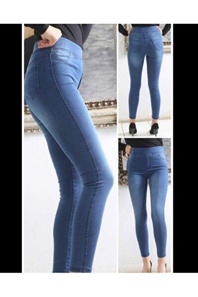 Kadın Taşlanmış Mavi Yüksel Bel Lastikli Kot Pantolon