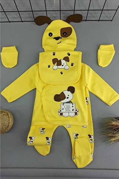 Sarı Köpek Desenli Bebek Hastane Çıkışı 5 Li Zıbın Set Body