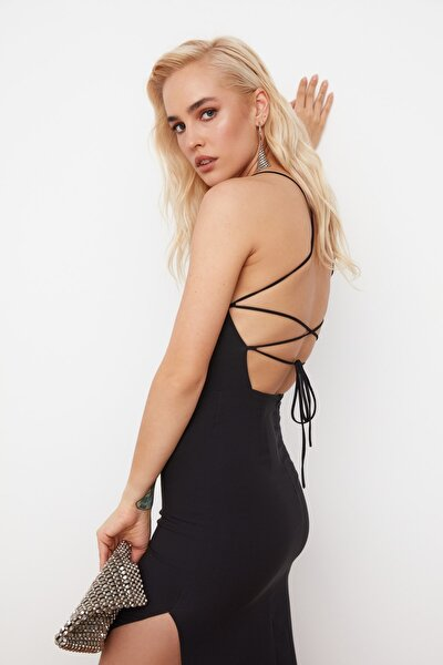 Siyah Sırt Detaylı Elbise TPRSS21EL0176