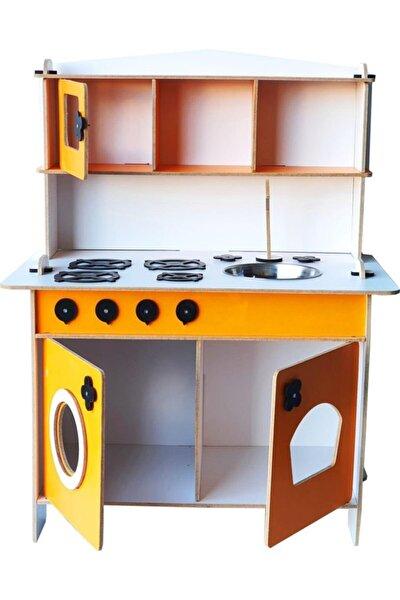Ahşap Çocuk Dolap Turuncu Küçük Mutfak Seti Montessori