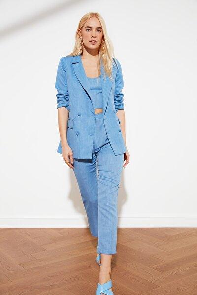 Mavi Pileli Bilek Boy Pantolon TWOSS21PL0076