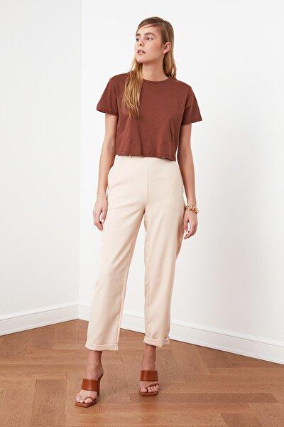 Bej Düğme Detaylı Pantolon TWOSS21PL0156