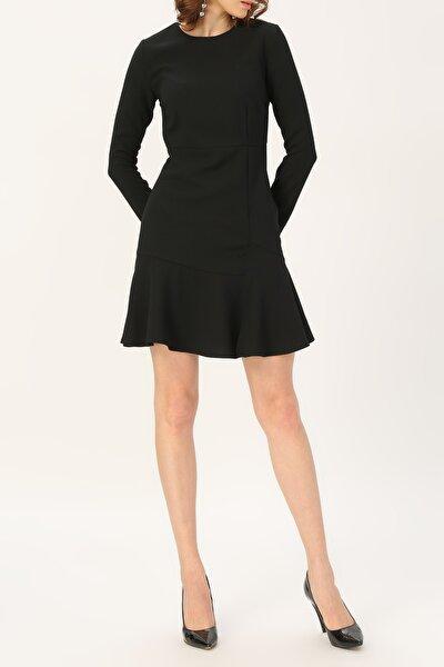 Kadın Volan Detaylı Uzun Kollu Elbise %98 Polyester %2 Elastane