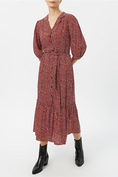 Kadın Truvakar Kol Belden Bağlamalı Desenli Elbise %100 Vıscon