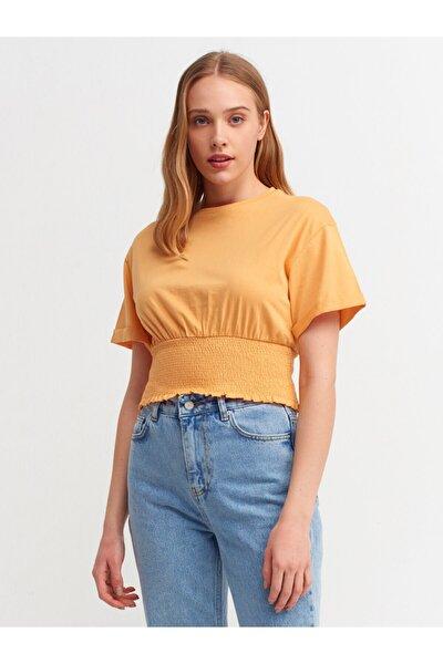 3552 Bel Gipeli Düşük Omuzlu T-shirt-kavuniçi