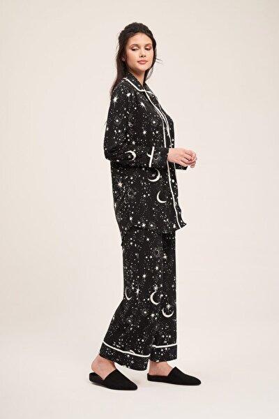 Kadın Siyah Yıldız Pijama Takımı