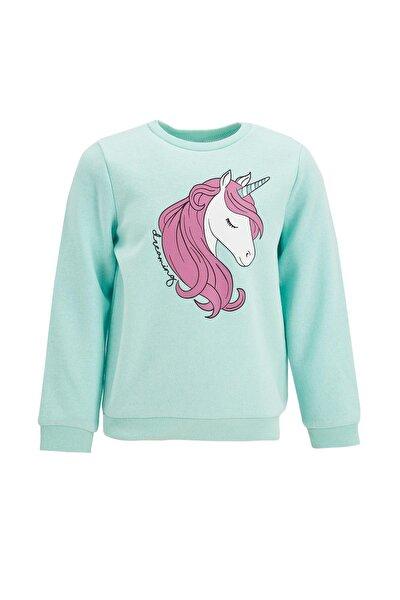 Kız Çocuk Unicorn Baskılı Selanik Sweatshirt