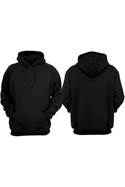 Unisex Siyah Basic Sweatshirt