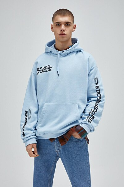 Erkek Melanj Gök Mavisi Stwd Sloganlı Kanguru Cepli Sweatshirt 04591568