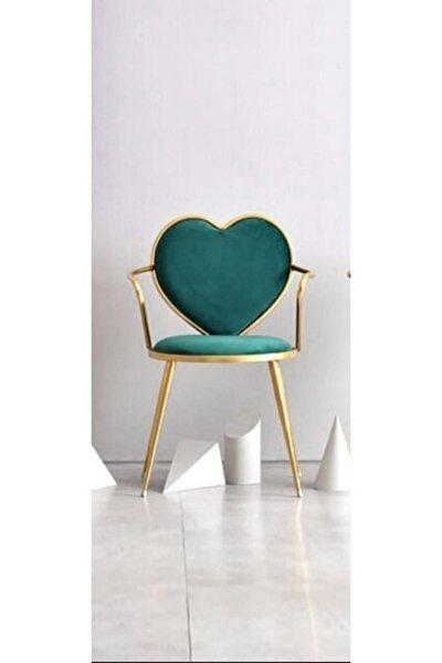 Şık Dekoratif Kullanışlı Kalpli Gold Sandalye