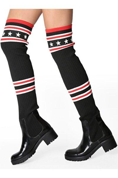 Kadın Siyah Şeritli Yıldız Detaylı Pamuklu Dizüstü Çorap