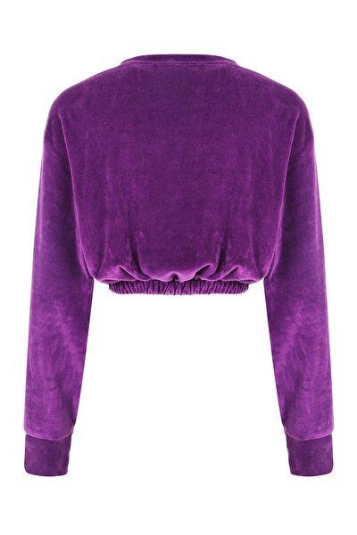 Mor Kadife Crop Ultra Yumuşak Sweatshirt