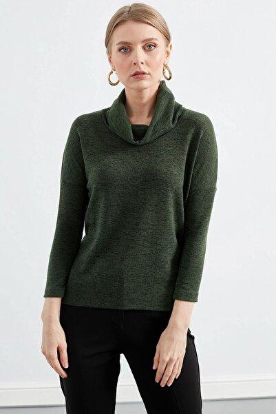 Kadın Yeşil Degaje Yaka Uzun Kol Bluz