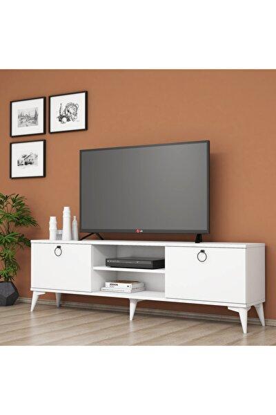Siyah Modern Kulplu Tv Sehpası  160 cm