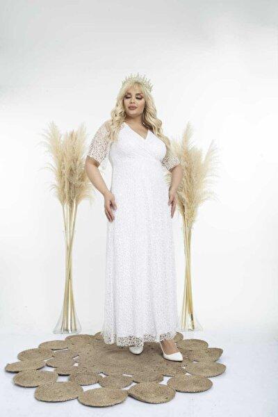Kadın Beyaz Uzun Degaje Payetli Büyük Beden Abiye Elbise
