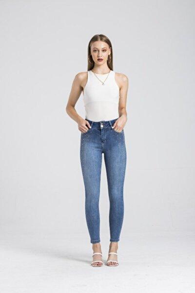 Yüksek Bel Jean Skinny Fit Taş Detay Kot Pantolon Mira 5486