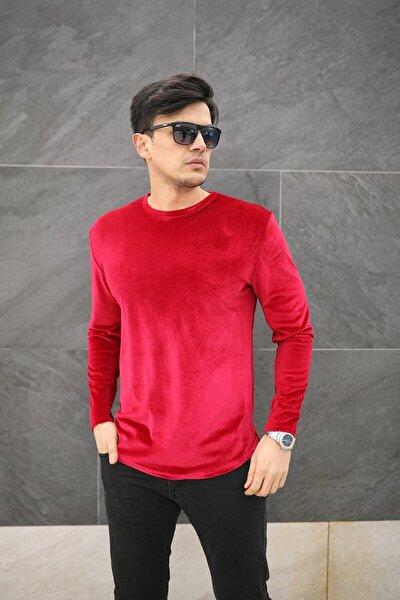 Erkek Kırmızı Kadife Uzun Kol Sweatshirt