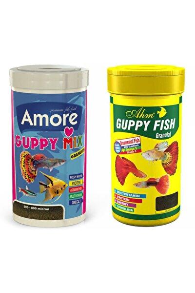Amore + Guppy Fish Granulat 250ml + 250ml Lepistes Moli Kılıç Melek Tetra Akvaryum Balık Yemi