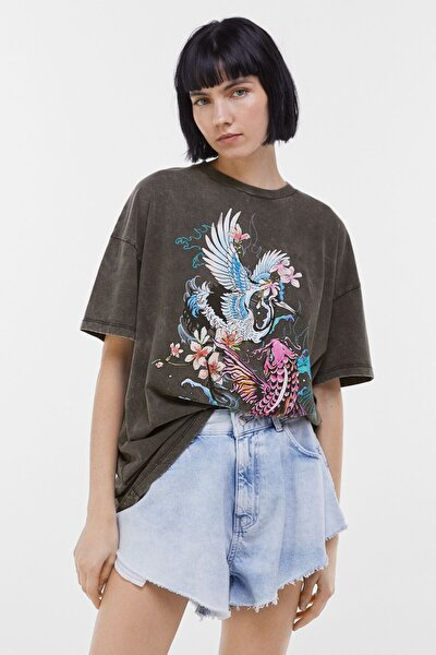 Kadın Siyah Desenli T-Shirt 02029033