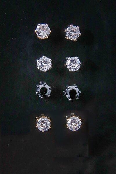 Unısex Zirkon Taşlı Altın Gümüş Rose Siyah Renkli 4 Çift Küpe Seti
