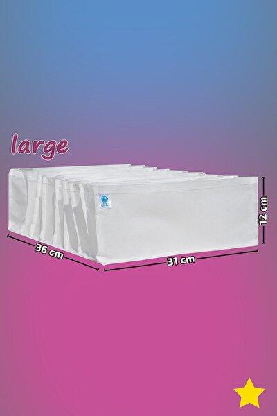 Beyaz - Large Boy / 8 Gözlü Çekmece Düzenleyici - Cepli Organizer - Akordiyon Düzenleyici