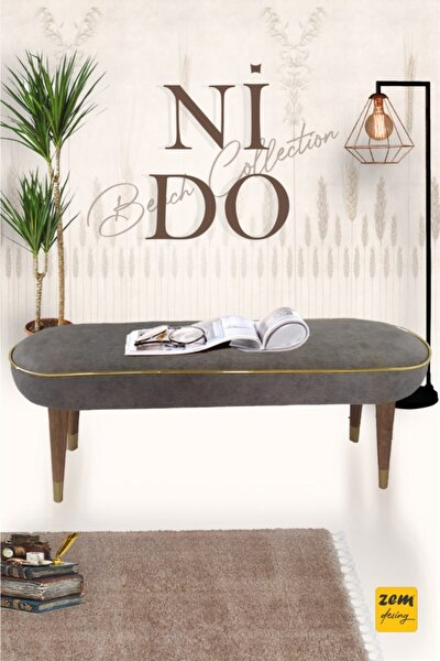 Nido Bench Grey - Masif Ahşap Ayaklı 120 Cm