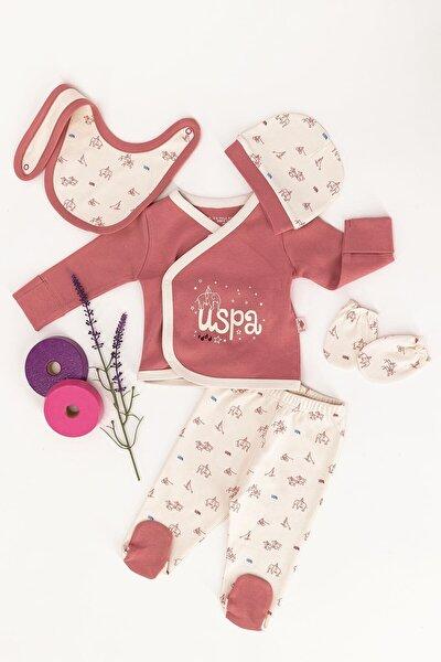 U.s. Polo Assn Lisanslı Pembe Bebek 5'li Hastane Çıkış Seti
