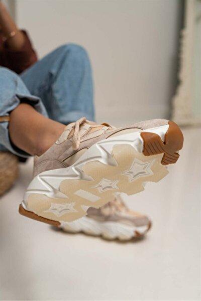 Kadın Bej Süet Beyaz Taban Sophia Spor Ayakkabı